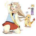 2boys bag biting blue_(pokemon)_(cosplay) blue_eyes blush brown_eyes brown_hair caught charmander crossdressing hat headwear_removed long_hair multiple_boys ookido_green ookido_green_(frlg) pokemon pokemon_(game) pokemon_frlg porkpie_hat pumpkinpan red_(pokemon) red_(pokemon)_(remake) skirt surprised wig