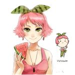 bangs bare_arms blush_stickers bow bust chibi dual_persona earrings food food_themed_clothes fruit green_eyes hair_bow hairband holding jewelry lips looking_at_viewer lowres meago necklace one-piece_swimsuit original pareo pendant personification pink_hair portrait rough sarong short_hair simple_background smile swept_bangs swimsuit watermelon watermelon_print white_background