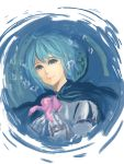 anonymous_drawfag blue_eyes blue_hair bust cape crying crying_with_eyes_open gloves highres magical_girl mahou_shoujo_madoka_magica miki_sayaka nose ribbon short_hair smile solo tears