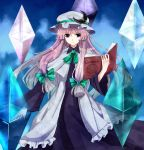 alternate_costume blue_eyes blush book bow crescent crystal dress hair_bow hat highres long_hair long_sleeves ozone_(delta_minus_1) patchouli_knowledge philosopher's_stone philosopher's_stone purple_hair smile solo touhou