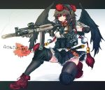 1girl ankle_boots assault_rifle black_hair black_legwear black_wings boots breasts ear_protection elbow_pads fingerless_gloves gloves gun hat headset knee_pads load_bearing_vest one_knee operator panzer red_eyes rifle shameimaru_aya short_hair skirt solo suppressor thighhighs tokin_hat touhou trigger_discipline watch weapon wings