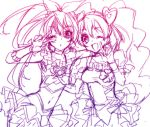 2girls :d arm_around_shoulder cure_melody cure_peach fresh_precure! houjou_hibiki long_hair midriff momozono_love monochrome multiple_girls nakagawa_besu navel open_mouth precure simple_background sketch smile suite_precure twintails v wink