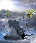 80s cannon cloud clouds epic fantasy fleet flying insect_wings mecha mountain oldschool science_fiction seisenshi_dunbine shijou_yukimasa space_craft star_(sky) wings