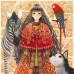 animal bangs bird blunt_bangs bou_nin brown_eyes brown_hair dog highres jewelry long_hair macaw necklace original parrot parted_lips poncho red-and-green_macaw very_long_hair zebra