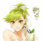 bangs bare_arms blush_stickers bow chibi cup dress drink dual_persona earrings food food_themed_clothes fruit glass green_eyes green_hair hair_bow holding jewelry leaf lime_(fruit) lips long_hair looking_at_viewer matching_hair/eyes meago mojito original personification ponytail portrait rough signature simple_background smile solo straw white_background