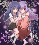 bare_shoulders blue_hair brown_eyes detached_sleeves furude_rika hand_holding hanyuu higurashi_no_naku_koro_ni hirounp holding_hands horns japanese_clothes light_smile long_hair mary_janes miko multiple_girls purple_hair ribbon school_uniform shoes skirt socks suspenders