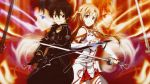 black_eyes brown_hair ivansahn kirigaya_kazuto long_hair short_hair skirt sword sword_art_online weapon yuuki_asuna