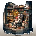 ahoge artist_name barefoot bike_shorts book bookshelf border brown_hair chair clock dated faux_figurine feet_on_chair glasses headphones holding holding_book isometric kei-suwabe lamp midriff navel open_book original reading short_hair sitting solo sports_bra thermos too_many_books