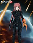 an-bl armor blue_eyes bodysuit commander_shepard commander_shepard_(female) commander_shepard_(female)_(cosplay) cosplay crossover energy_sword gun hair_clip hair_ornament hairclip katou_marika long_hair mass_effect mass_effect_3 miniskirt_pirates n7_armor omni_blade omni_tool pink_hair pistol red_hair solo sword title_drop weapon
