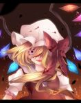 ascot blonde_hair blood bow crazy_eyes crazy_smile crystal flandre_scarlet hat hat_bow mutsuki open_mouth puffy_sleeves red_eyes short_sleeves side_ponytail solo touhou wings