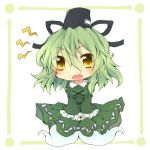 1girl chibi dress fuuen_(akagaminanoka) ghost_tail green_dress green_hair hat long_hair multiple_tails open_mouth soga_no_tojiko solo tail tate_eboshi touhou yellow_eyes