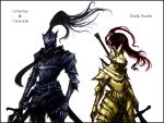 armor artorias_the_abysswalker dark_souls dragon_slayer_ornstein full_armor gauntlets helmet knight male multiple_boys plume polearm spear sword weapon
