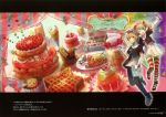 1girl ;d absurdres cake dress feast flower food fruit fuji_choko gingerbread_man glass green_eyes hair_flower hair_ornament hands_on_hips hat highres holding jar open_mouth original parfait pie puzzle_piece scan silver_hair smile star strawberry striped striped_legwear thigh-highs thighhighs twintails vertical_stripes whisk wink