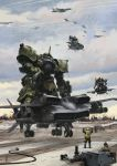 80s aircraft airplane bazooka camouflage cloud condensation_trail dated dodai_ys engineer epic fleet flying gouf gouf_custom gundam headgear helmet mecha military missile oldschool realistic red_ace riding runway science_fiction signature soldier weapon zeon