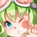 against_glass close-up face fourth_wall green_eyes green_hair gumi looking_at_viewer nou short_hair solo vocaloid wince