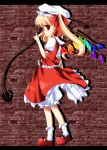 amemiya_ruki blonde_hair bloomers bow crystal flandre_scarlet hair_bow hat laevatein puffy_sleeves red_eyes short_sleeves side_ponytail solo touhou weapon wings