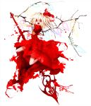 ascot banpai_akira blonde_hair blood crazy crystal dress fang flandre_scarlet highres koumajou_densetsu koumajou_densetsu_2 laevatein no_hat no_headwear open_mouth red_eyes short_hair short_sleeves side_ponytail sword touhou weapon wings