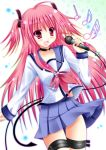angel_beats! fang long_hair microphone pink_eyes pink_hair school_uniform serafuku smile suzukawa_yui tail twintails yui_(angel_beats!)