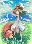bird black_eyes bread cloud clouds collar dog food grass green_hair hat nigoro original sky solo water wind