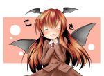:d bat_wings blush closed_eyes head_wings headwings koakuma light_brown_hair long_hair necktie open_mouth skirt smile tobi_(artist) tobi_(nekomata_homara) touhou vest wings