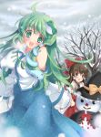 :d aqua_eyes arms_behind_back bare_shoulders blush bow breasts breath brown_hair cosplay detached_sleeves erect_nipples green_eyes green_hair hair_bow hair_ornament hakurei_reimu hand_on_hip hat kirisame_marisa kirisame_marisa_(cosplay) kochiya_sanae large_breasts long_hair multiple_girls no_nose open_mouth pan_(mimi) smile snake snow snowman star touhou winter witch_hat