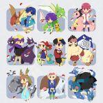 4girls 6+boys akane_(pokemon) chikorita clefairy cyndaquil dewgong dragonair everyone gastly gengar gold_(pokemon) gyarados gym_leader hat hat_ribbon haunter hayato_(pokemon) holding holding_poke_ball ibuki_(pokemon) juukyuu_mame kakuna kingdra kotone_(pokemon) magnemite matsuba_(pokemon) metapod mikan_(pokemon) miltank multiple_boys multiple_girls pidgeot pidgeotto piloswine poke_ball pokemon pokemon_(creature) pokemon_(game) pokemon_gsc poliwrath primeape red_ribbon ribbon scyther seel shijima_(pokemon) steelix totodile tsukushi_(pokemon) udder yanagi_(pokemon) yanagi_(pokemon)_(remake)