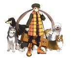 brown_eyes brown_hair dog edo_umi gloves hat long_hair original pack_of_dogs solo standing suitcase twintails