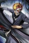 black_sclera bleach kurosaki_ichigo mask ninjatic orange_hair solo sword teeth weapon yellow_eyes