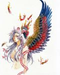 bow efuo feathers fire fujiwara_no_mokou grey_hair hair_bow hair_over_breasts hair_ribbon navel nude red_eyes ribbon simple_background touhou traditional_media watercolor_(medium) wind wings