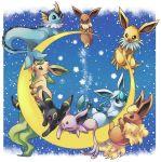 crescent_moon espeon everyone flareon glaceon ibui_matsumoto jolteon leafeon moon night no_humans pokemon pokemon_(creature) stars umbreon vaporeon