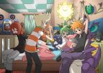 ahoge bed blonde_hair blue_eyes boots brown_hair chair croagunk green_hair happy jewelry jpeg_artifacts jun_(pokemon) lotad loudred lowres lying magyo meowth mitsuru_(pokemon) multiple_boys natu necklace nidoking objectification ookido_green ookido_green_(frlg) open_mouth pillow pillow_hug pointing pokemon pokemon_(creature) pokemon_(game) pokemon_dppt pokemon_gsc pokemon_rgby pokemon_rse red_hair redhead scarf seedot short_sleeves silver_(pokemon) silver_(pokemon)_(classic) sitting smile snubbull striped sunflora sunkern xatu