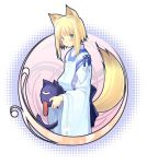 art_nouveau blonde_hair blue_eyes fox_ears fox_tail halftone halftone_background japanese_clothes kitsune_(poko) original poko short_hair tail
