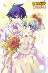 1boy 1girl absurdres bride couple dress flower highres multicolored_hair nia_teppelin scan scan_artifacts simon tengen_toppa_gurren_lagann tuxedo wedding wedding_dress