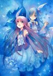 2girls :d bird blue blue_background curtains dated detached_sleeves hair_ornament heterochromia highres long_hair long_sleeves mosho multiple_girls open_mouth original single_wing smile sparkle traditional_media very_long_hair watercolor_(medium) wings wink