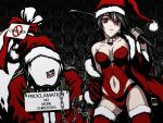 bag bdsm bell black_hair bondage breasts chain chains cleavage coat collar femdom fingerless_gloves gloves hat iga_tomoteru mask navel original red_eyes sack santa_costume santa_hat thigh-highs thighhighs whip