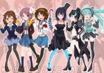 "6+girls akiyama_mio bangs black_hair black_rock_shooter black_rock_shooter_(character) blue_eyes blue_hair blue_legwear blunt_bangs boots brown_eyes brown_hair cane crossover detached_sleeves don't_say_""lazy"" don't_say_lazy fingerless_gloves gloves green_hair hair_ornament hair_ribbon hairband hat hatsune_miku high_heels hime_cut hirasawa_yui k-on! legs mask megaphone midriff mini_top_hat multiple_girls nagato_yuki necktie pantyhose purple_eyes ribbon shoes suzumiya_haruhi suzumiya_haruhi_no_yuuutsu sweater thigh-highs thighhighs top_hat turquoise_pantyhose twintails violet_eyes vocaloid wand yellow_eyes zettai_ryouiki zhuxiao517"