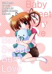 1girl blush brown_hair cover cover_page english hair_ribbon kohakura lyrical_nanoha mahou_shoujo_lyrical_nanoha mahou_shoujo_lyrical_nanoha_a's ribbon short_sleeves short_twintails shorts socks solo stuffed_animal stuffed_toy takamachi_nanoha twintails violet_eyes