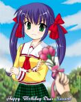 green_eyes happy_birthday nanase_rumi nekoma_kotomitsu one school_uniform twintails