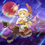 ascot black_legwear blonde_hair bunchou_(bunchou3103) fang flandre_scarlet hat laevatein lantern moon open_mouth red_eyes red_moon shooting_star side_ponytail skirt smile solo thigh-highs thighhighs touhou wings