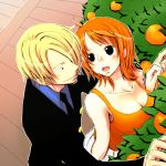 1girl black_eyes blonde_hair blush breasts cleavage collarbone food fruit looking_at_another mandarin_orange nami necktie one_piece open_mouth orange_hair sanji smile yamadaenako
