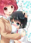 akado_harue artist_request blue_eyes blush hug kuriyuzu_kuryuu multiple_girls red_hair redhead sagimori_arata saki saki_achiga-hen short_hair