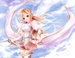 blush brown_hair clouds garyljq long_hair sky sword sword_art_online thigh-highs weapon yuuki_asuna