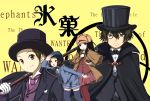 2girls black_hair brown_hair cane cape chitanda_eru cosplay detective fukube_satoshi hat highres hyouka ibara_mayaka kimi_ni_matsuwaru_mystery kuena looking_at_viewer monocle multiple_boys multiple_girls oreki_houtarou pantyhose short_hair thigh-highs thighhighs top_hat