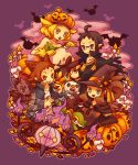 2boys 2girls ahoge alternate_costume animal_ears bare_shoulders bel_(pokemon) chandelure cheren_(pokemon) glasses gloves halloween hat holding holding_poke_ball ikra_(katacoly) litwick multiple_boys multiple_girls musharna oshawott poke_ball pokemon pokemon_(creature) pokemon_(game) pokemon_bw pumpkin purple_background sitting snivy tepig touko_(pokemon) touya_(pokemon) tympole vampire witch woobat zorua