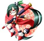 black_hair blazblue boots glasses highres lao_jiu litchi_faye_ling long_hair low-tied_long_hair red_eyes side_ponytail skirt smile solo staff yin_yang zairusibetto