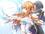 1boy 1girl armor artist_request asuna_(sao) belt black_hair blade blonde_hair brown_eyes coat feather gloves in_miso kirigaya_kazuto kirito light long_hair short_hair sword sword_art_online wallpaper weapon yuuki_asuna