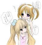 2girls bare_shoulders blush brown_hair crossover dress green_eyes hair_bobbles hair_ornament hair_ribbon kodomo_no_jikan kokonoe_rin long_hair lyrical_nanoha mahou_shoujo_lyrical_nanoha multiple_girls open_mouth purple_eyes ribbon short_twintails sketch sundress takamachi_nanoha teikiatsu translation_request twintails very_long_hair violet_eyes white_background
