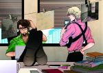 bad_id barnaby_brooks_jr bespectacled blonde_hair brown_eyes brown_hair detective facial_hair foreshortening glasses green_eyes kaburagi_t_kotetsu multiple_boys police shoes stubble tiger_&_bunny twrico what_if