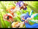 :d arinu blonde_hair blue_eyes blue_hair brown_eyes cirno daiyousei dress green_hair grin hair_bobbles hair_ornament ice ice_wings in_the_face letterboxed luna_child multiple_girls open_mouth orange_hair outstretched_arm punching short_hair smile star_sapphire sunny_milk touhou twintails wings yousei_daisensou