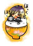1girl blonde_hair blush bowl closed_eyes eyes_closed food gradient_hair hijiri_byakuren in_container multicolored_hair open_mouth purple_hair reio rice solo touhou